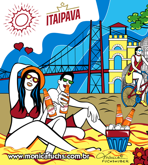 Mônica Fuchshuber desenvolve Arte para Canga Promocional da Cerveja Itaipava