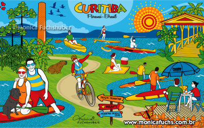 Mônica Fuchshuber cria arte para o Passaúna Paddle Club, em Curitiba